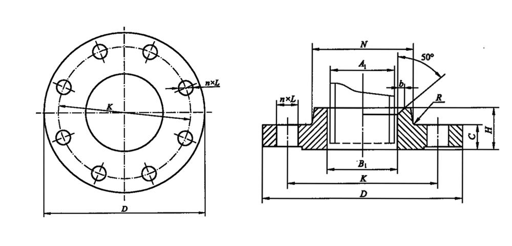 带颈平焊法兰型式图